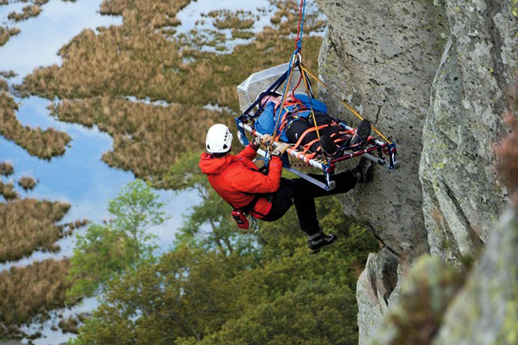 Rescuers in action in Borrowdale during filming
