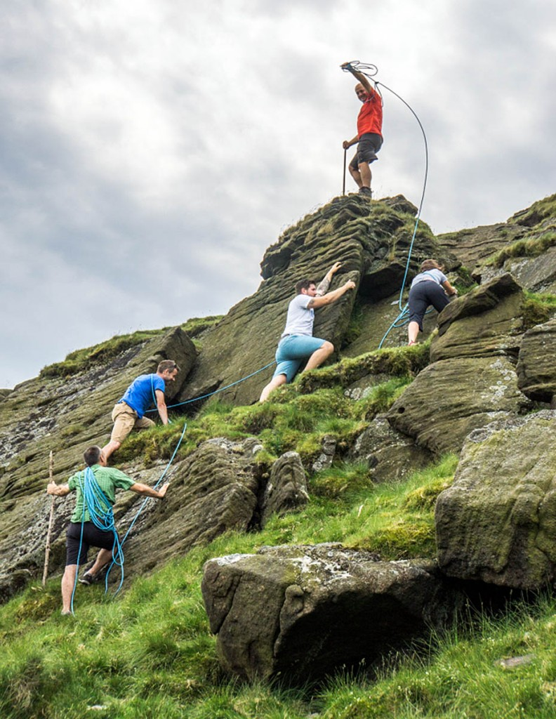 The Mammut team recreates the Whymper ascent, on Shutlingsloe. Photo: Mick Ryan