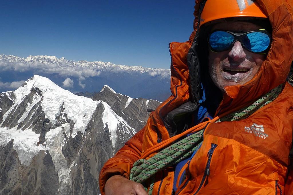 Martin Moran on the summit of Himalayan peak Trisul. Photo: Martin Moran