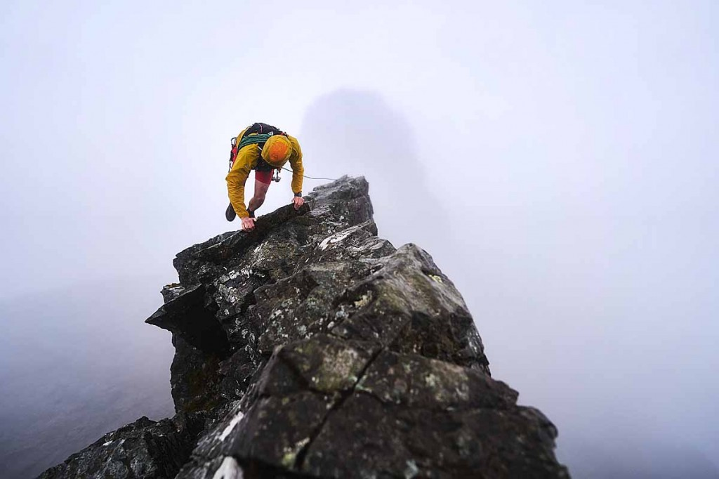 Alex Moran on the Inaccessible Pinnacle on the Cuillin. Photo: Hamish Frost