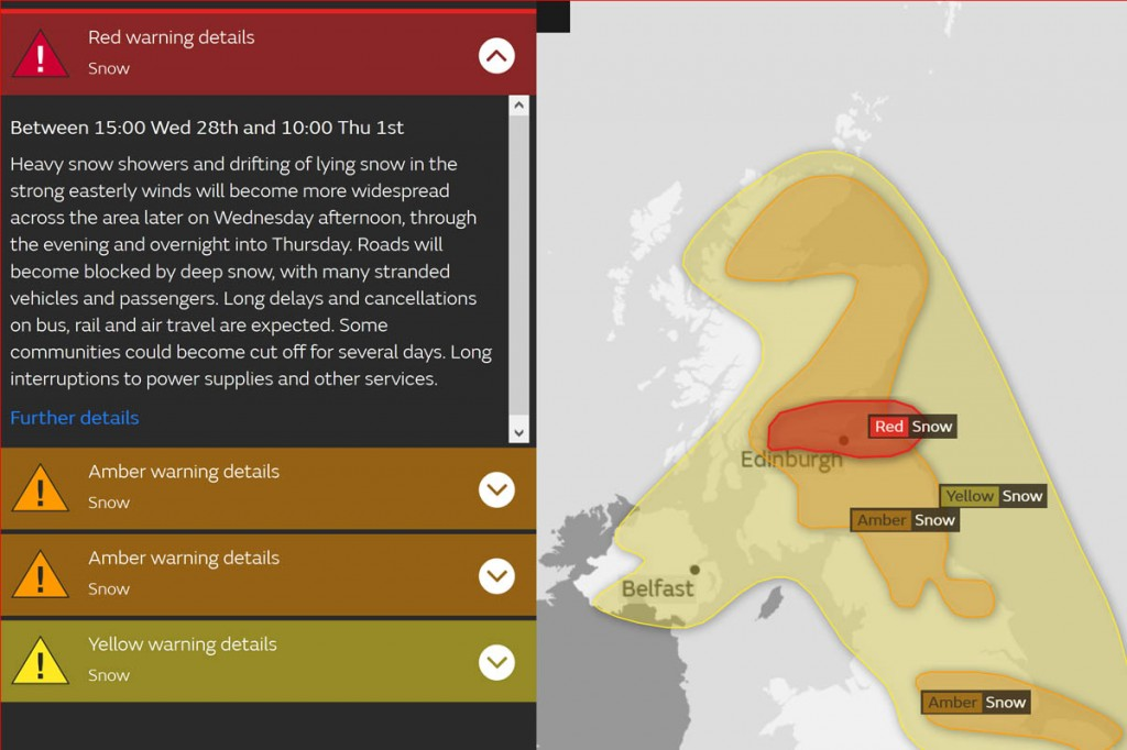 A red weather warning has been issued by the Met Office