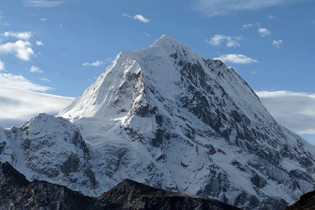 The north face of Chombu, centre left, remains unclimbed