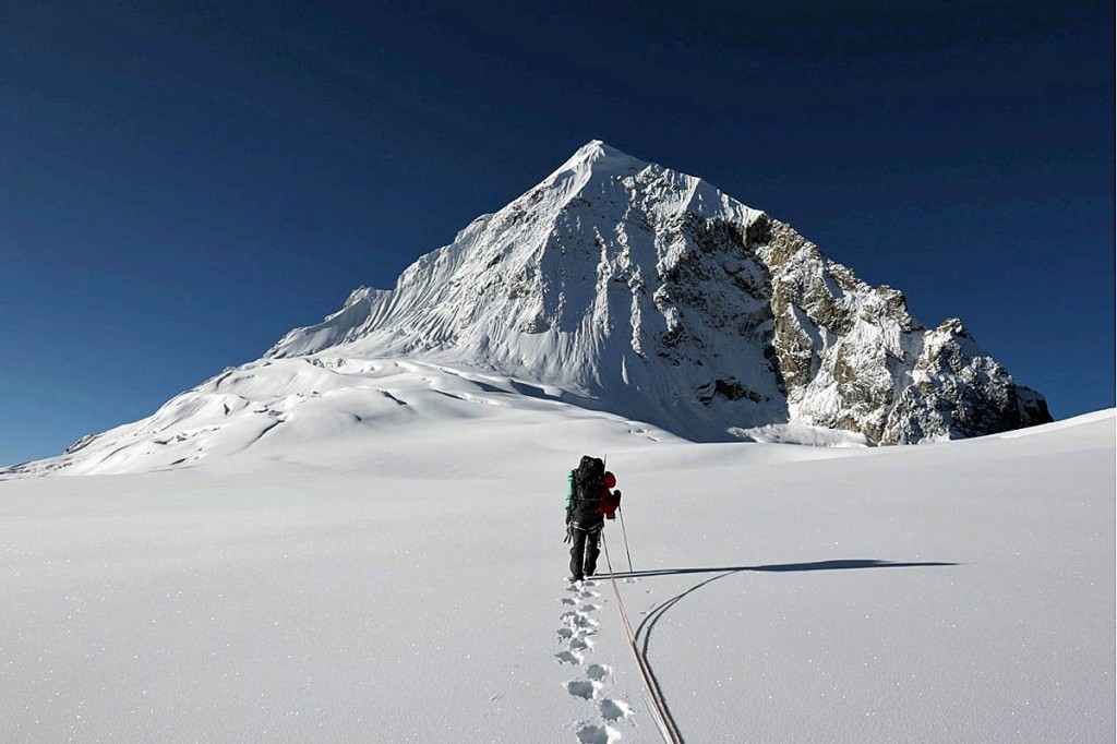 The pair faced a nerve-wracking long trudge across a crevassed plateau to reach the face of Chombu