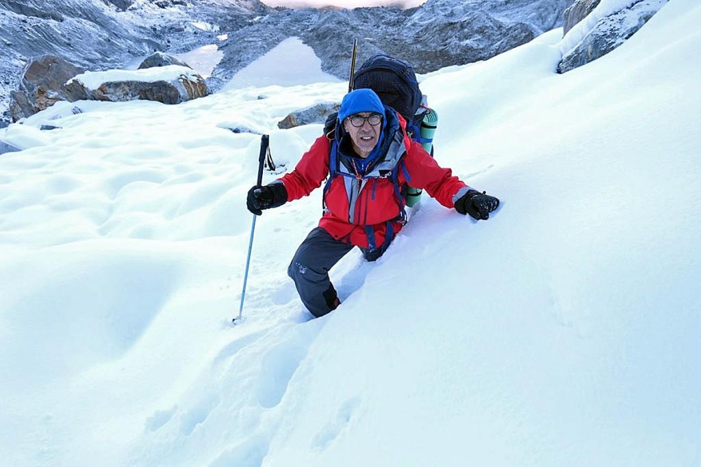 Vic Saunders acclimatising, wading through tiring deep snow