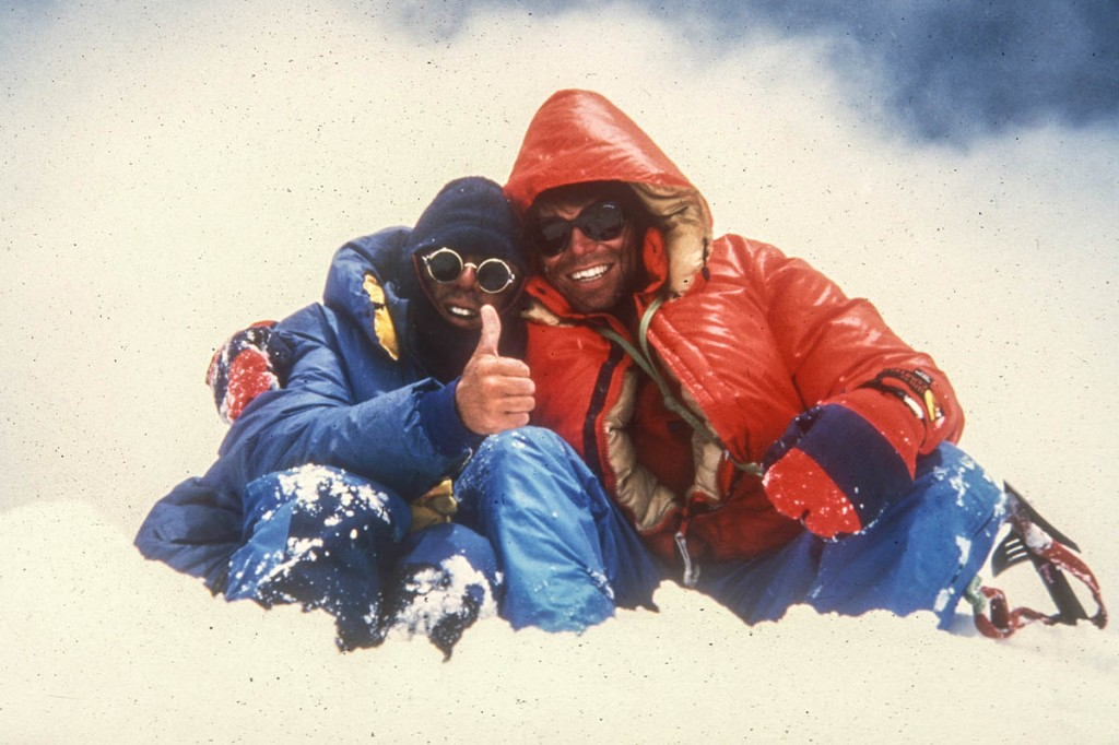 Mick Fowler, right, and Vic Saunders on the summir of Spantik during their last joint Himalayan expedition in 1987