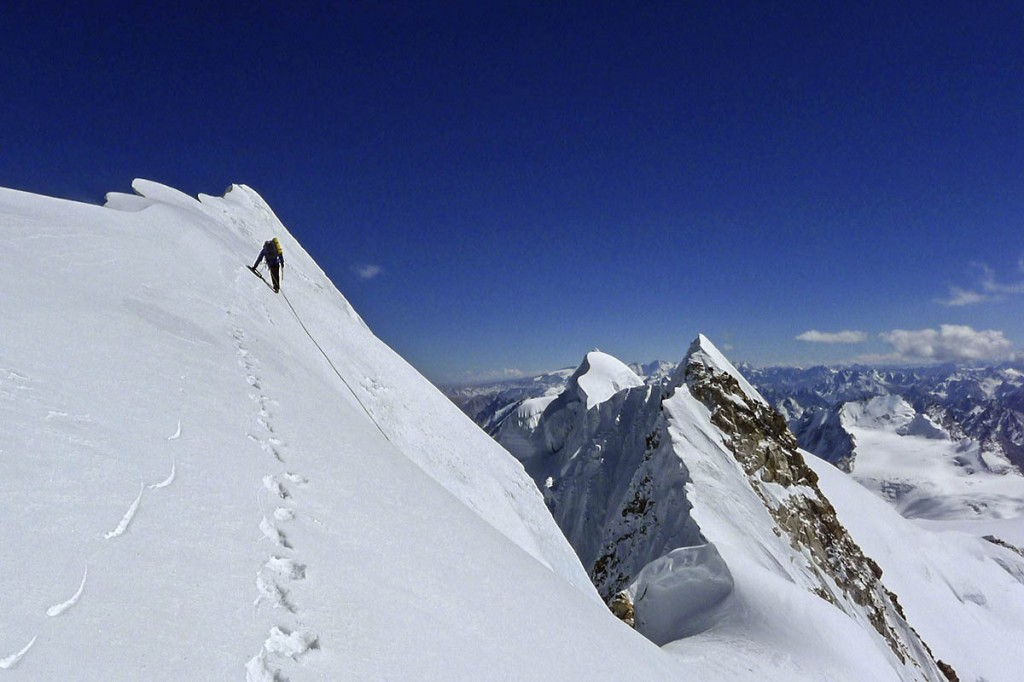 Mick Fowler approaches the summit of Gave Ding. Photo: Berghaus