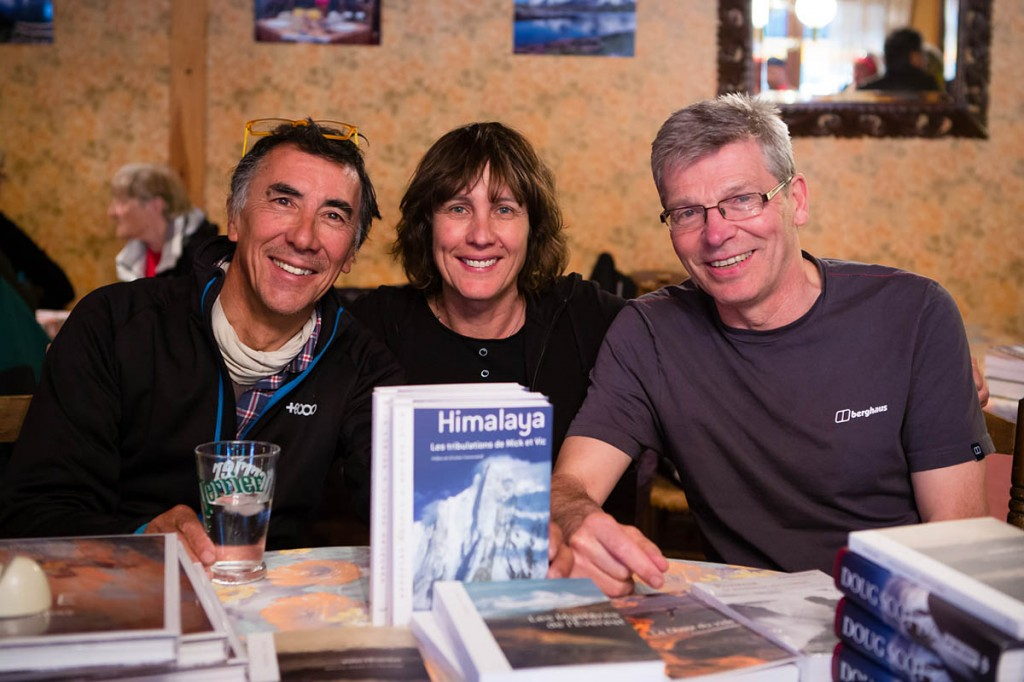 Vic Saunders, left, and Mick Fowler with French climber Catherine Destivelle, whose company published Les Tribulation. Photo: Piotr Drożdż