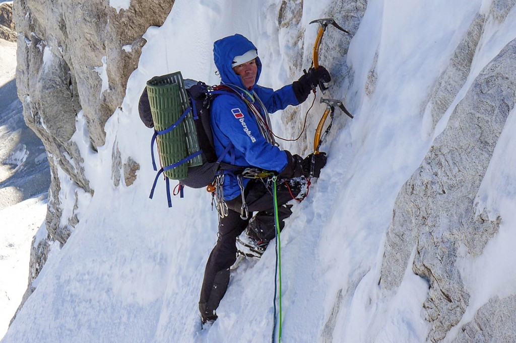 Mick Fowler on the third day of his Gave Ding climb. Photo: Berghaus