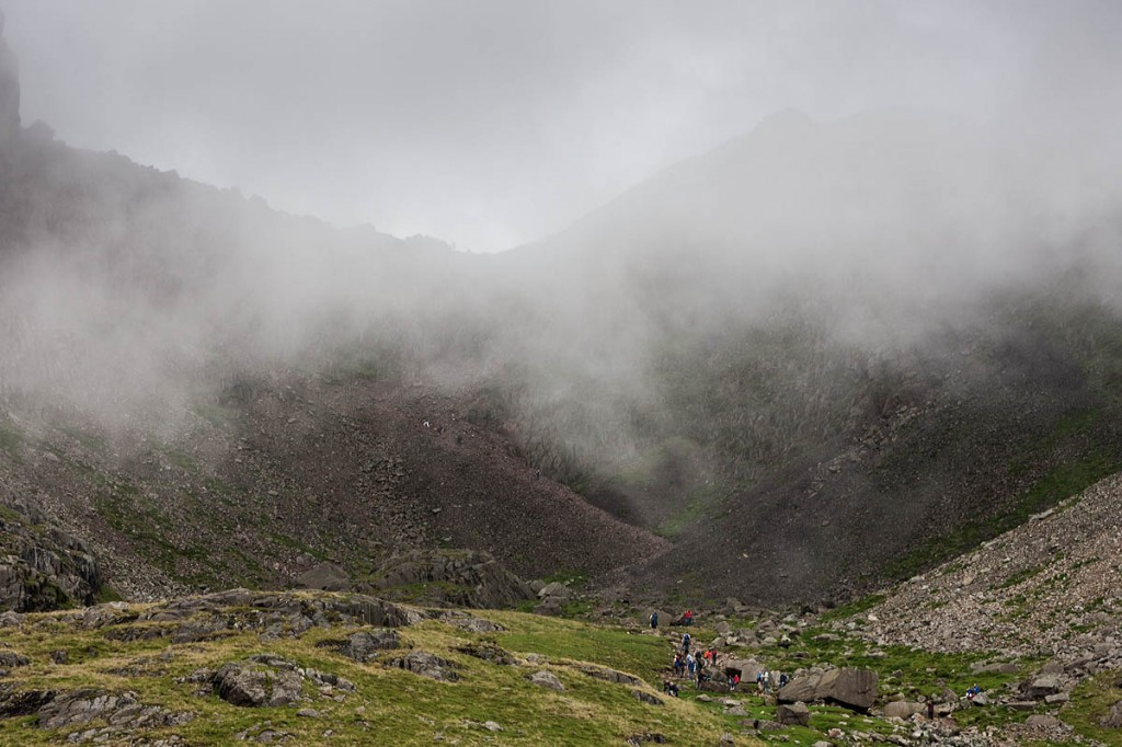One group had underestimated the terrain in Mickledore, between Scafell and Scafell Pike. Photo: Bob Smith/grough