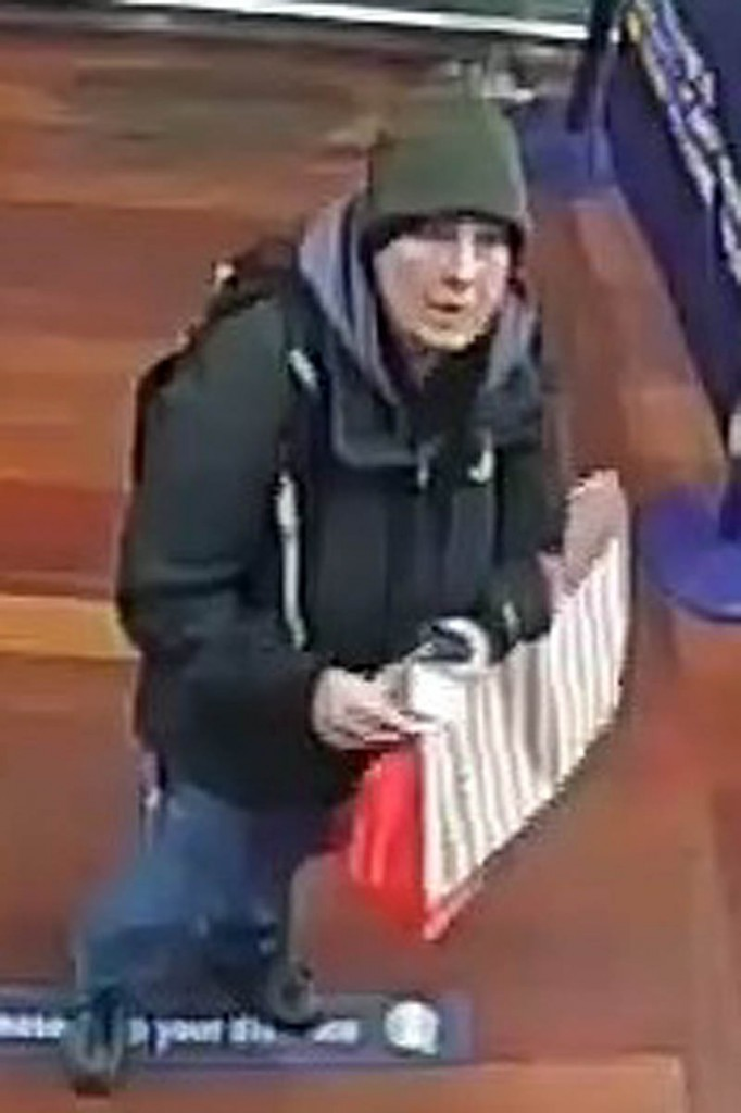 A CCTV image of Kerry Robertson buying camping gear