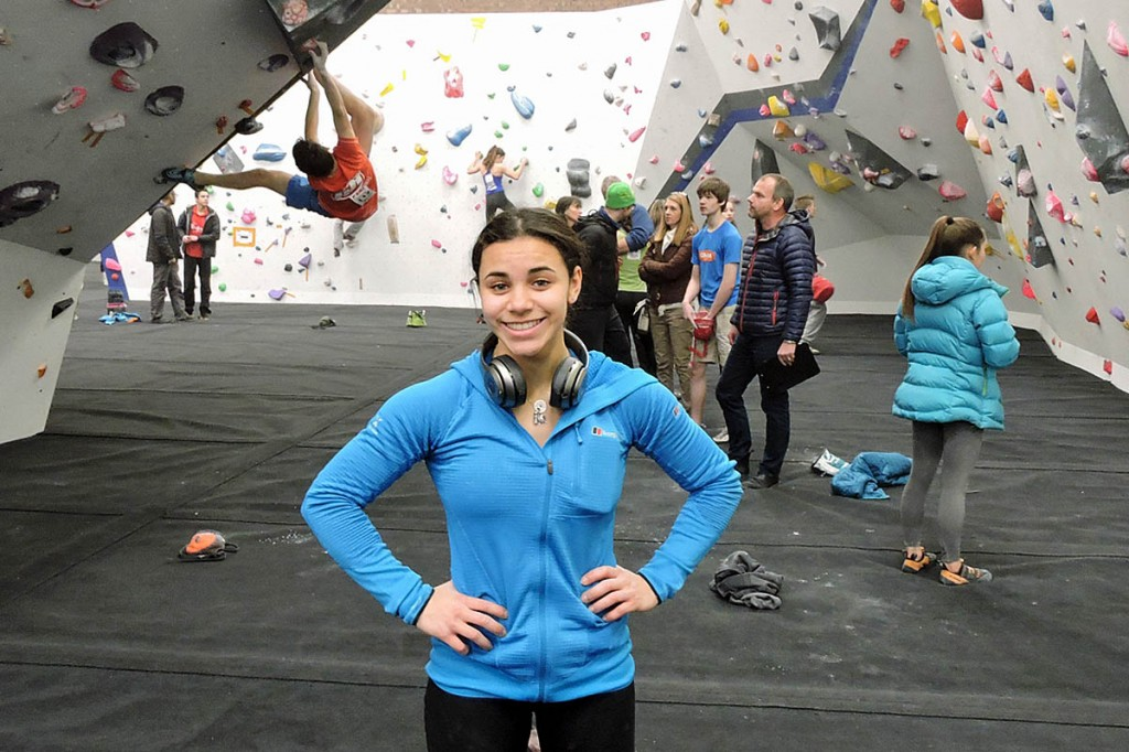 Molly Thompson-Smith takes part in a BMC GB climbing team event in Manchester