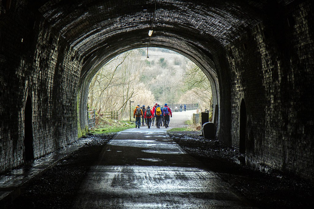 Walkers on the Monsal Trail in the Peak District. Photo: Bob Smith/grough