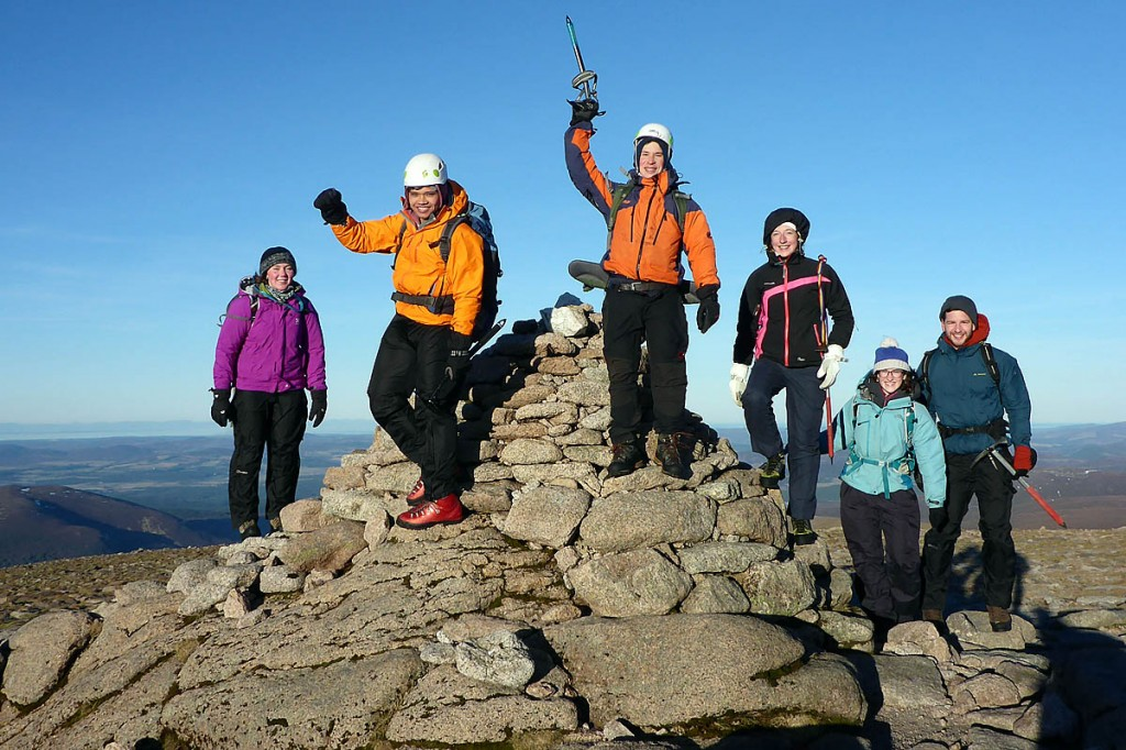 A group of students at the summit of Cairn Gorm