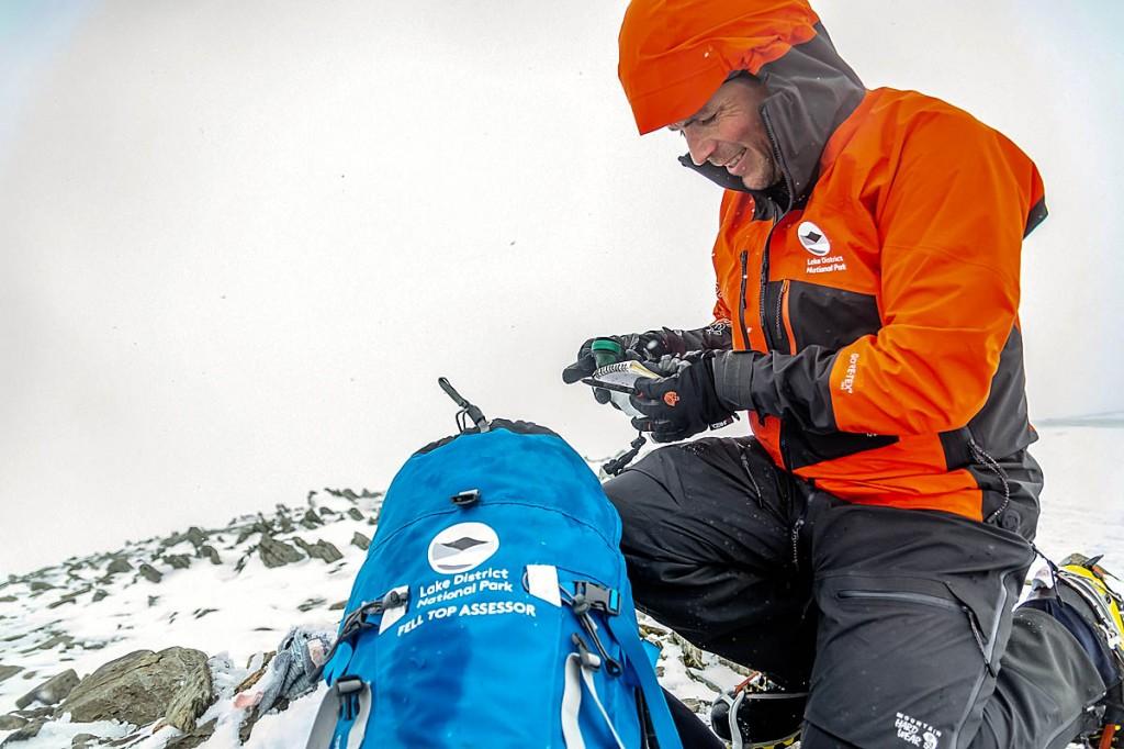 Zac Poulton at work in his Mountain Hardwear gear on Helvellyn