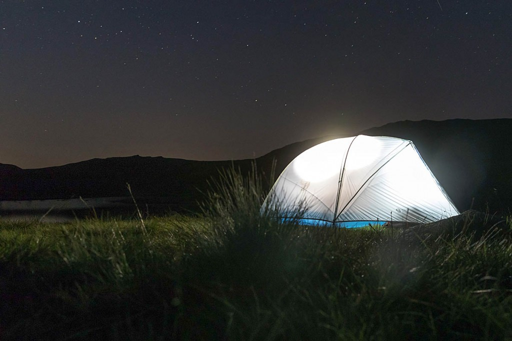 The Mountain Hardwear tent under a starry sky. Photo: Bob Smith/grough