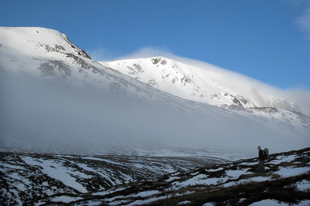 Winter in the Cairngorms, with Ben Macdui sporting a cloud blanket. Photo: Neil Reid