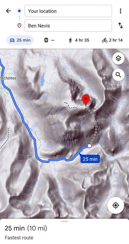 Google Maps' route with the dotted line from the Upper Falls car park