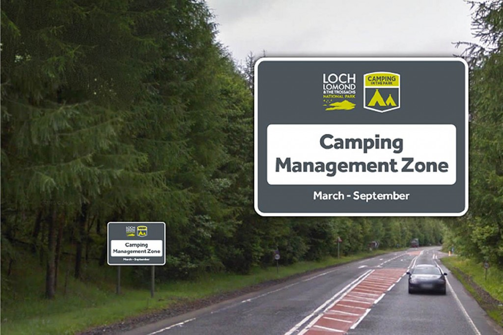 The proposed signs for the Loch Lomond and the Trossachs camping control areas