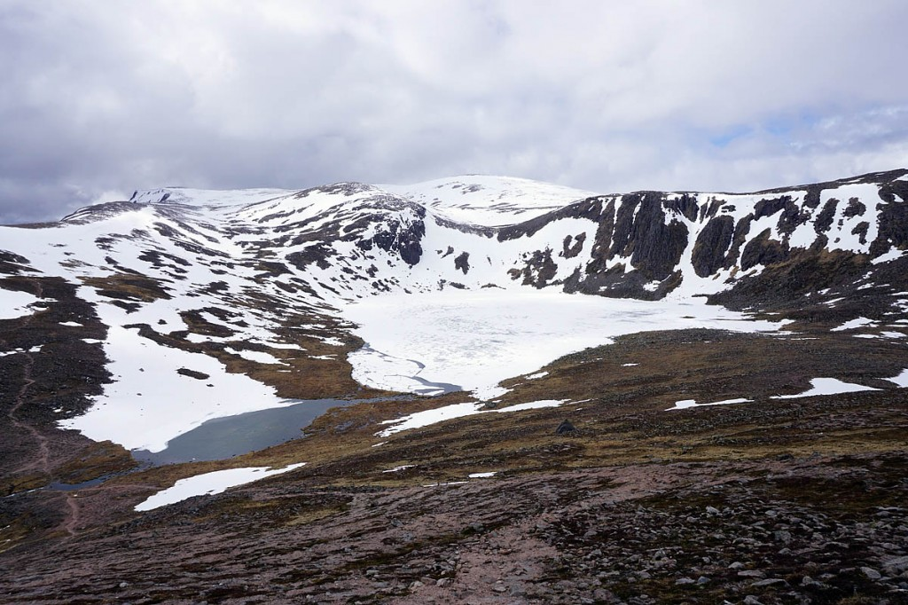 Loch Etchachan and Ben MacDui in the heart of the Cairngorms, still under snow and ice at the beginning of May