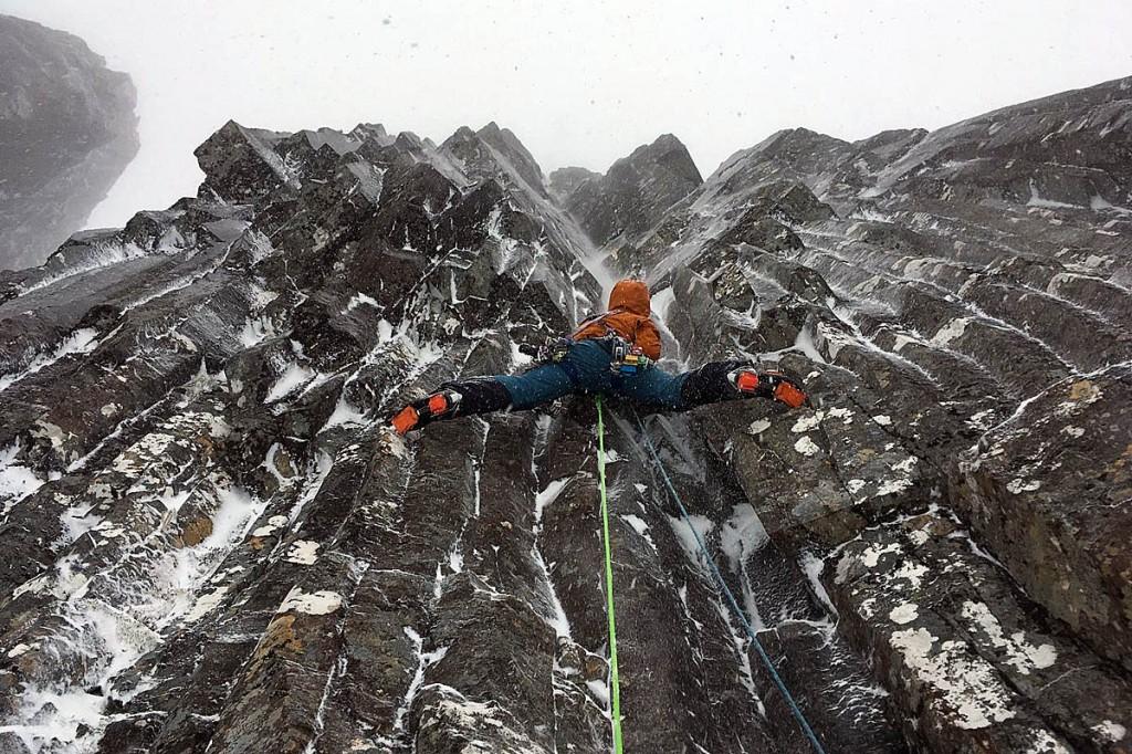 Polish climber Wadim Jablonski on Central Grooves on Stob Coire nan Lochan in Glen Coe. Photo: Paul Ramsden
