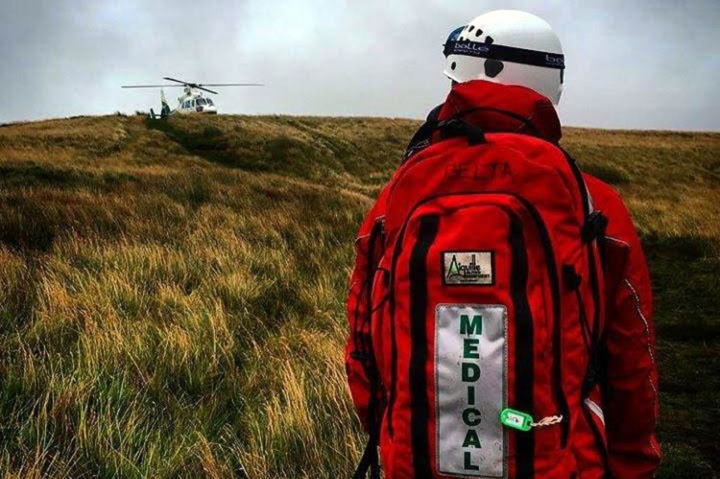 The air ambulance at the scene where the woman collapsed. Photo: Northumberland National Park MRT