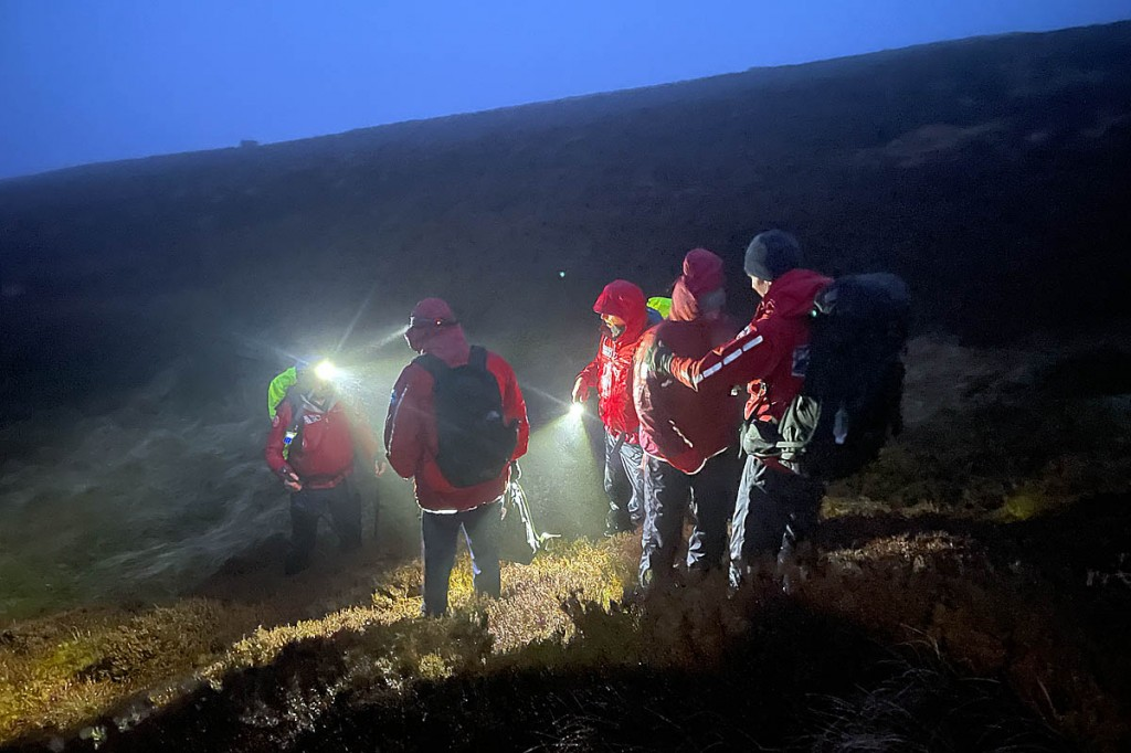 Rescuers at the scene on the Cheviots. Photo: NNPMRT