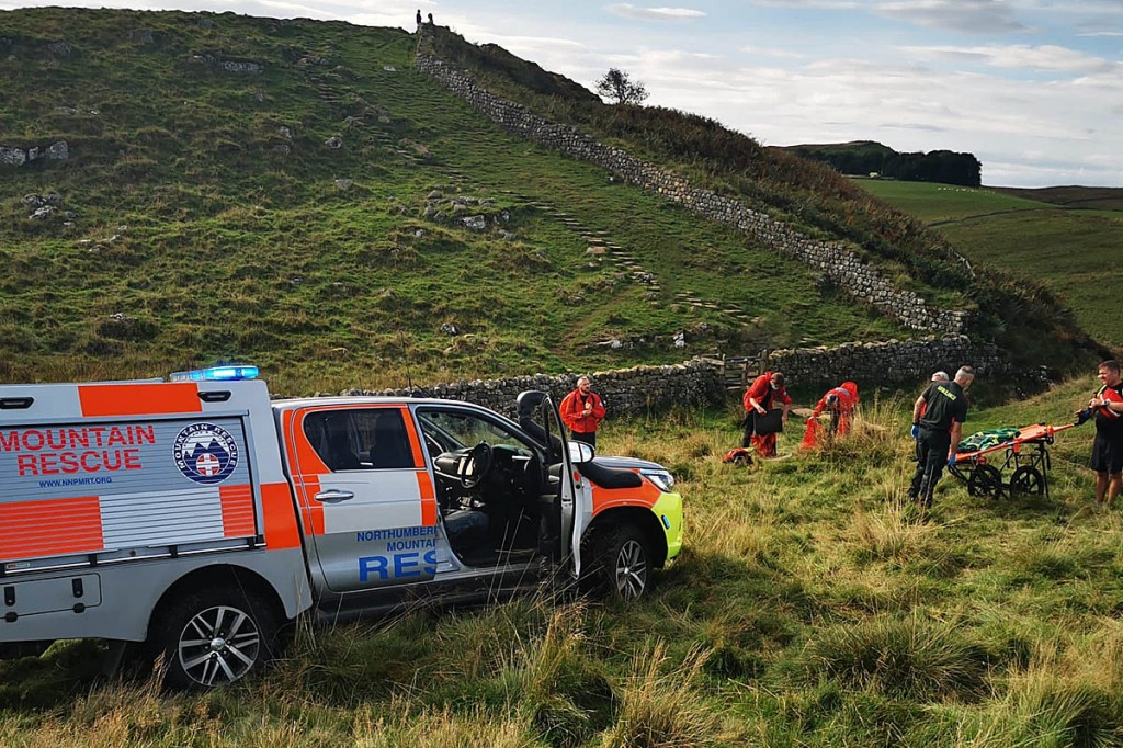 Rescuers were able to drive their vehicle close to the site on Hadrian's Wall. Photo: NNPMRT