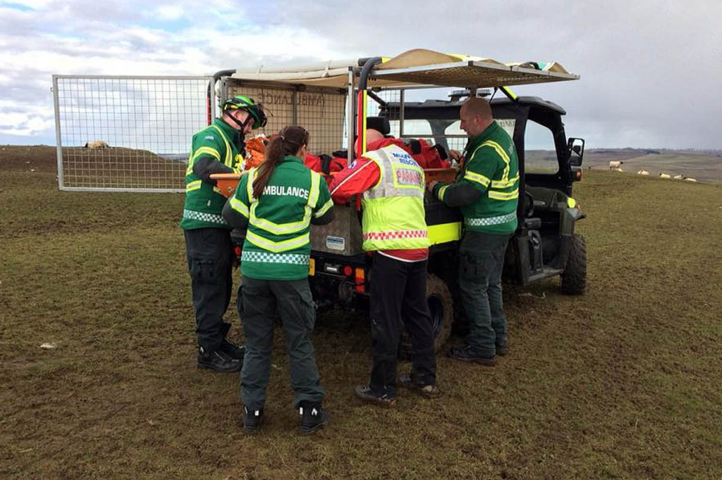 An all-terrain vehicle was used to carry the injured walker from the hill. Photo: NNPMRT