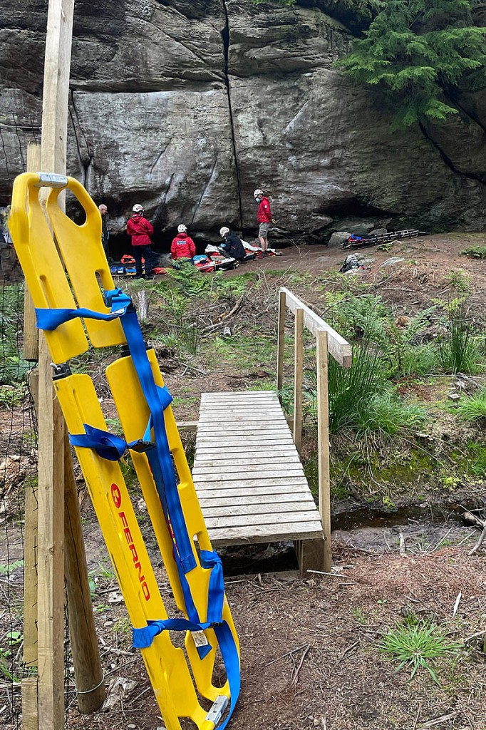 The rescue scene at the crag in Kyloe in the Wood. Photo: NNPMRT