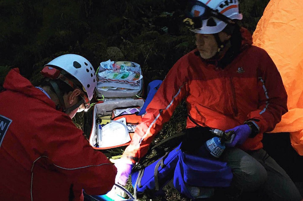 Rescuers provided medical care for the man while waiting for the arrival of the helicopter. Photo: Northumberland NPMRT