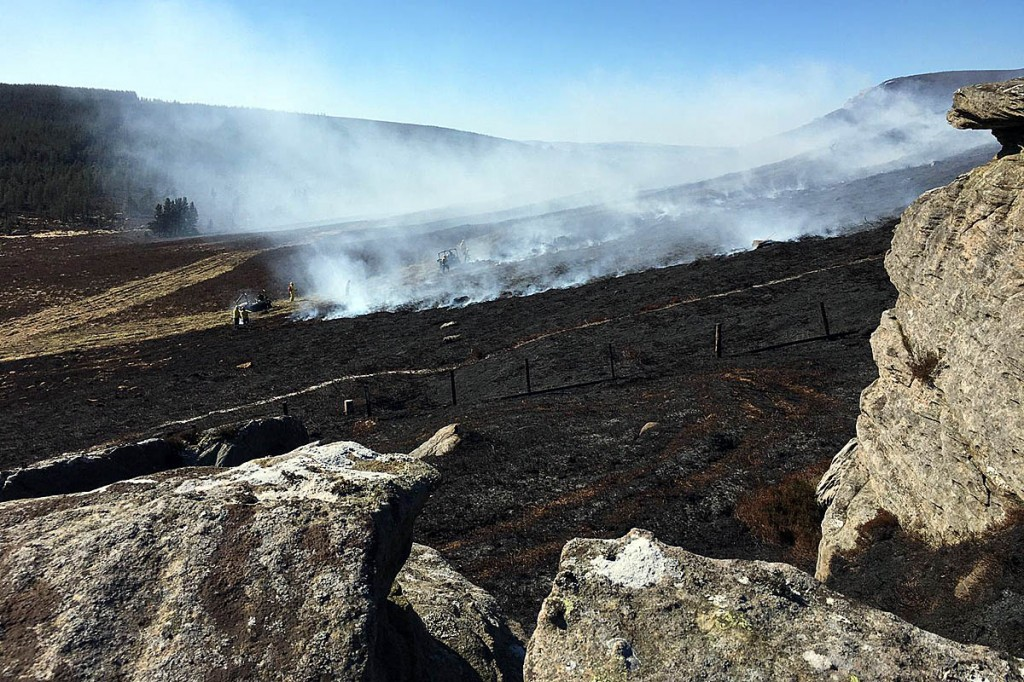 The wildfire on Simonside was the second in a week. Photo: NNPMRT
