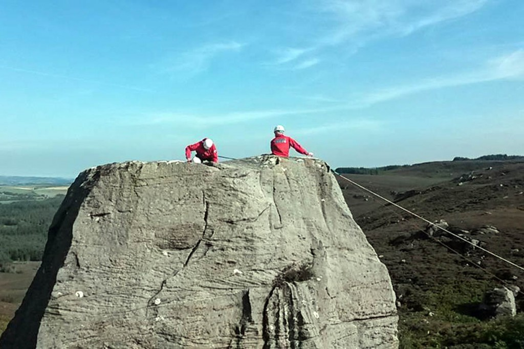 Rescuers at the scene at the Drake Stone. Photo: Northumberland NPMRT