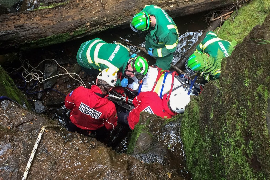 Mountain rescuers and medical staff at work during the incident at the waterfall. Photo: Northumberland National Park MRT