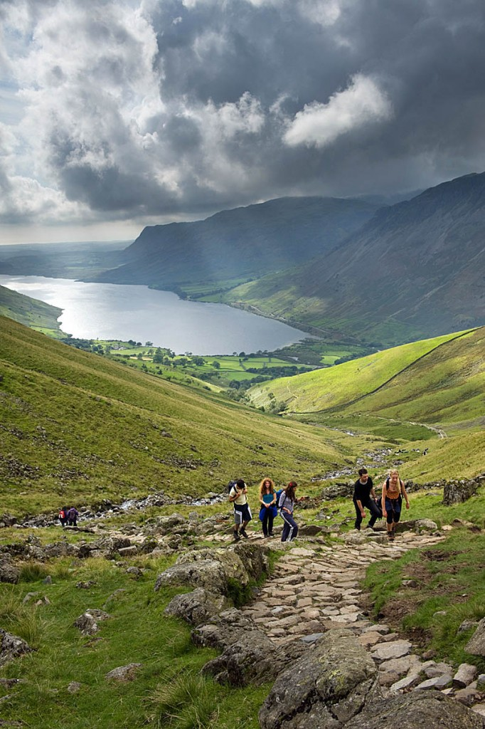Walkers on the path leading from Wasdale Head towards Scafell Pike. Photo: Joe Cornish/National Trust Images