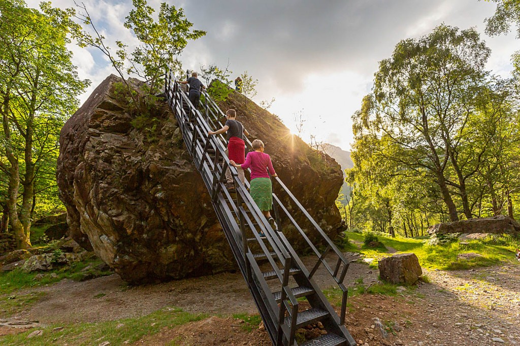 The new ladder allows access to the top of the Bowder Stone. Photo: National Trust Images/Chris Lacey