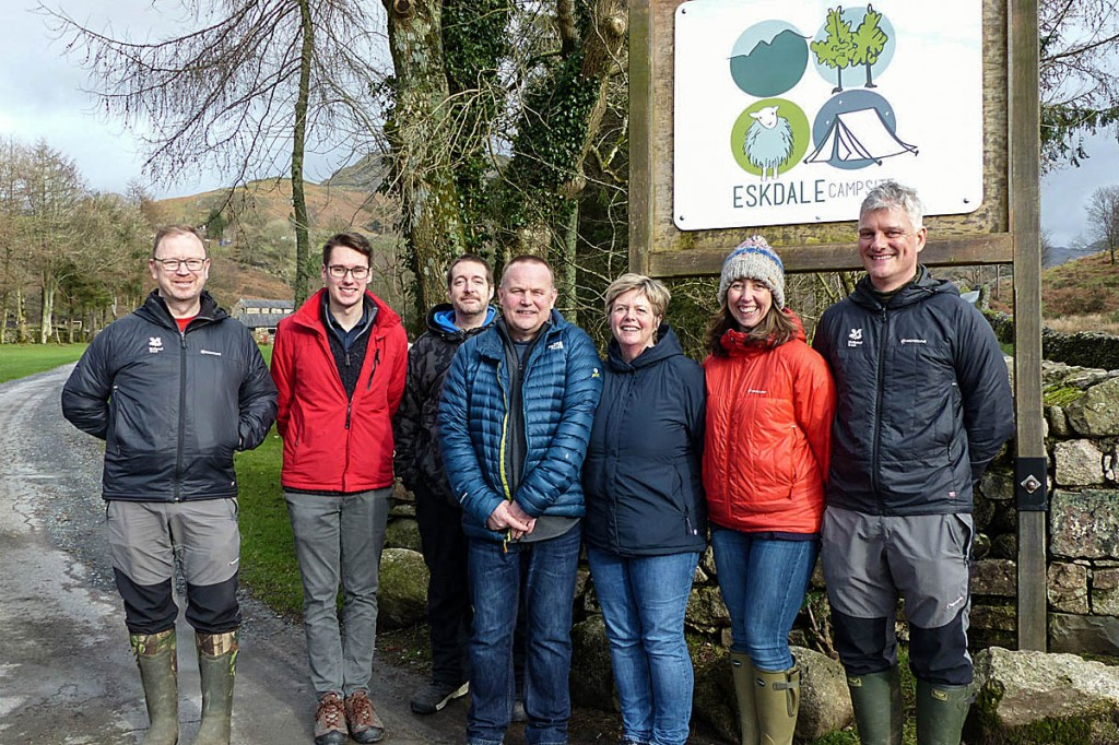 The National Trust campsite team with the Eskdale site's former owners