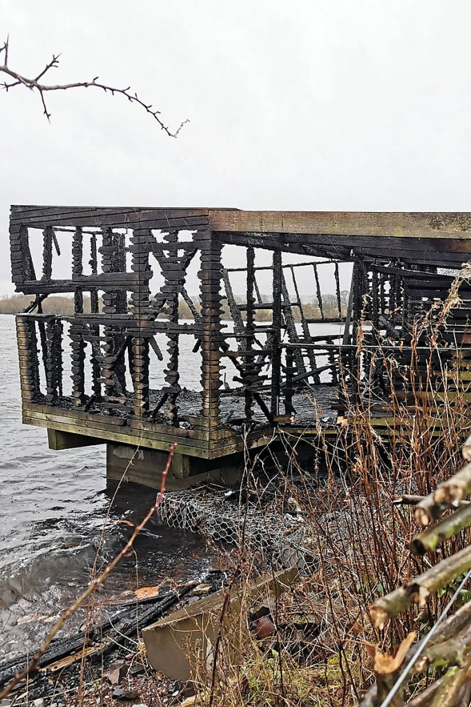 The burnt-out hide. Photo: Simon Ritchie/NatureScot