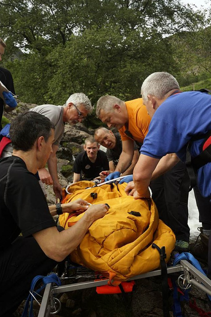 Nick Owen, second from right, in action with the mountain rescue team
