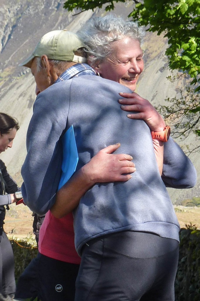 Joss Naylor embraces Nicky Spinks at the end of her challenge run. Photo: Pam Topham