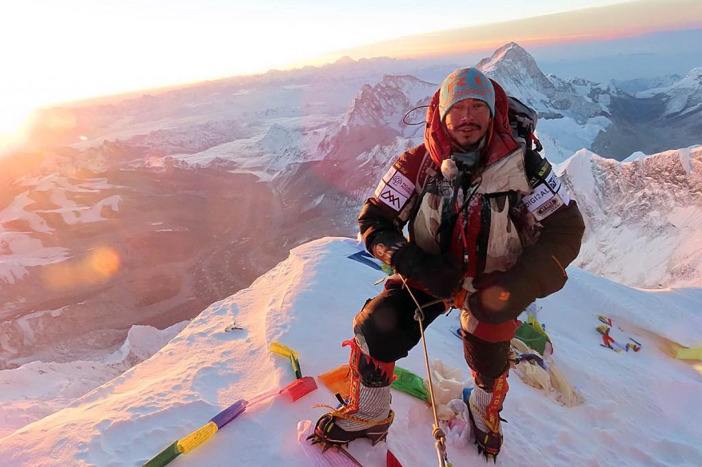 Nirmal Purja on the summit of Everest