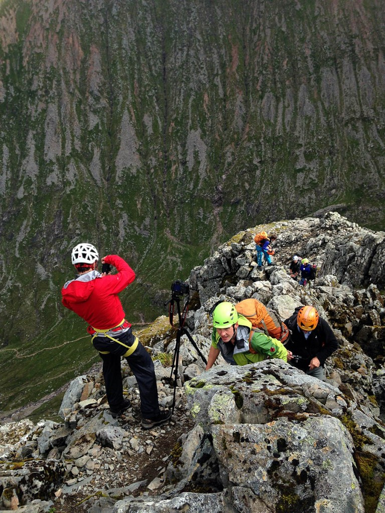 Climbers on the North Face during last year's survey. Photo: D MacLeod