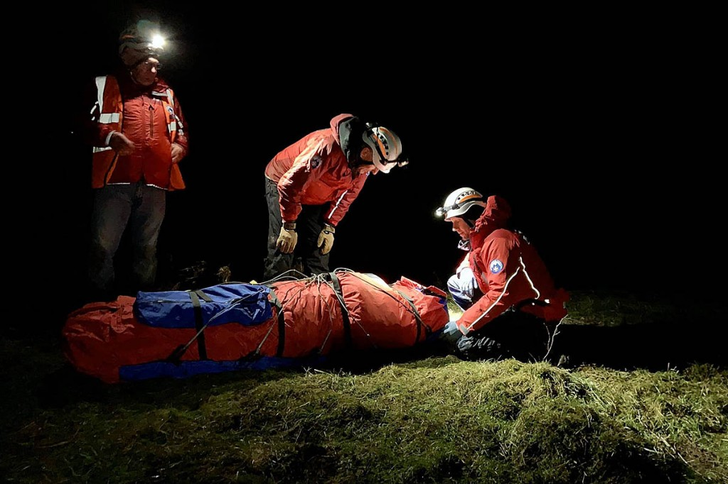 Rescuers tend to the injured kayaker. Photo: North of Tyne MRT