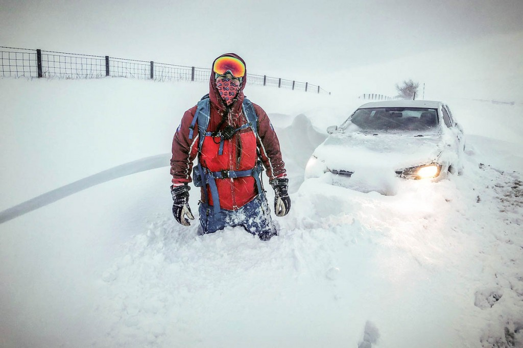 Northumberland Mountain Rescue Service medical officer Jamie Pattison with a stranded vehicle. Photo: Northumberland National Park MRT