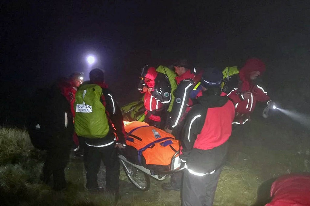 Rescuers stretchered the injured walker for more than 4km. Photo: Northumberland NPMRT