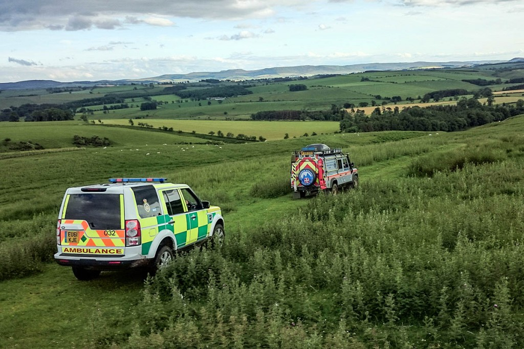 The mountain rescue vehicle and ambulance make their way to the site. Photo: Northumberland National Park MRT