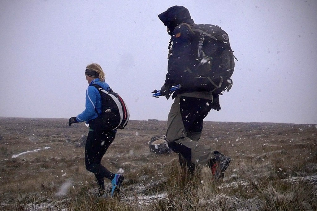 Snow hit the Black Mountains during the event. Photo: OMM