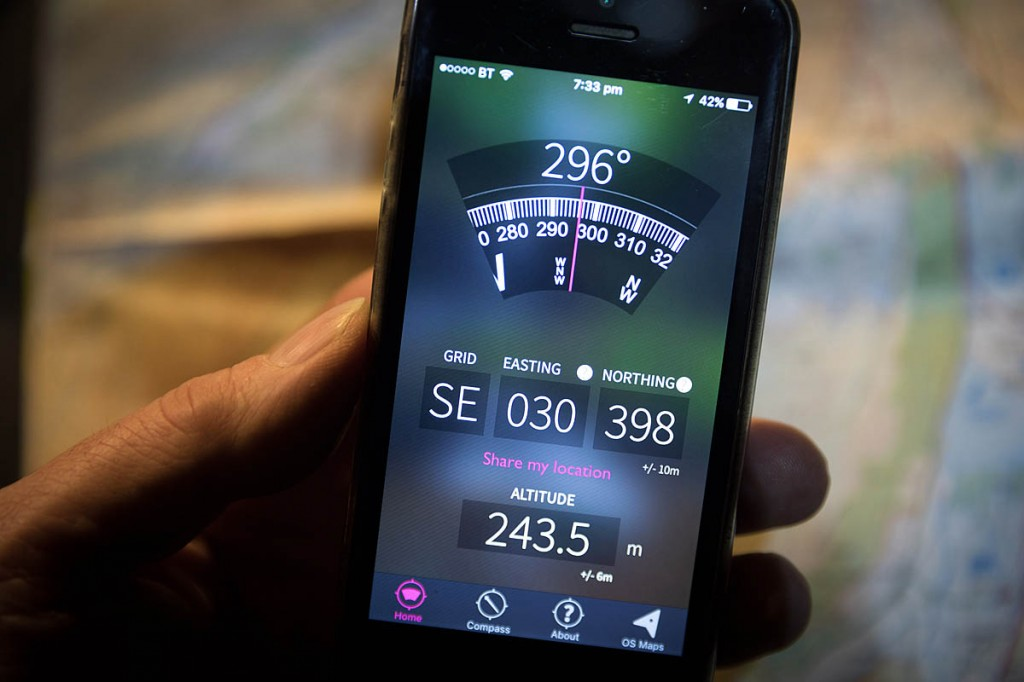 The free OS Locate app uses the smartphone's GPS to give the user a grid reference and estimate of altitude. Photo: Bob Smith/grough