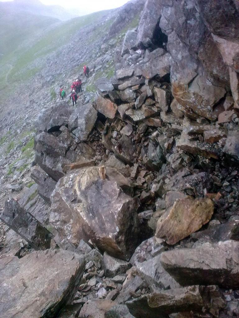The walker was trapped under a rock on the Gribin ridge. Photo: Ogwen Valley MRO