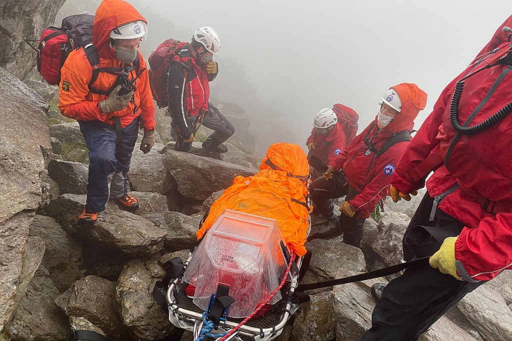 The rescue involved a complex operation to lower the injured man over difficult terrain. Photo: OVMRO