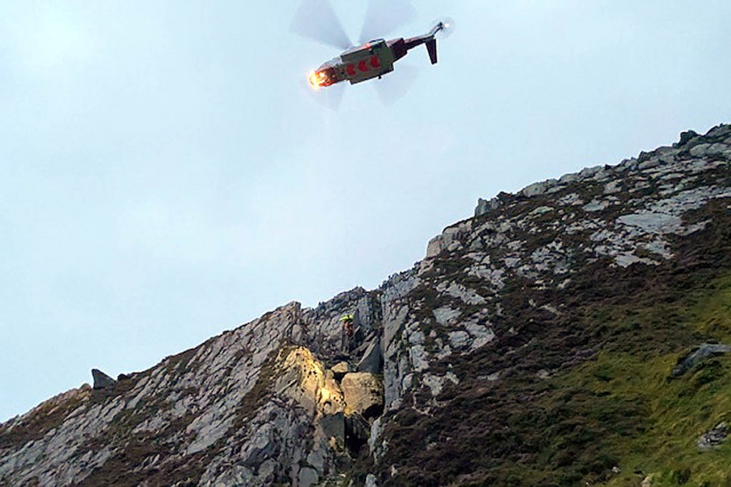 The Coastguard helicopter at the scene on Tryfan. Photo: OVMRO